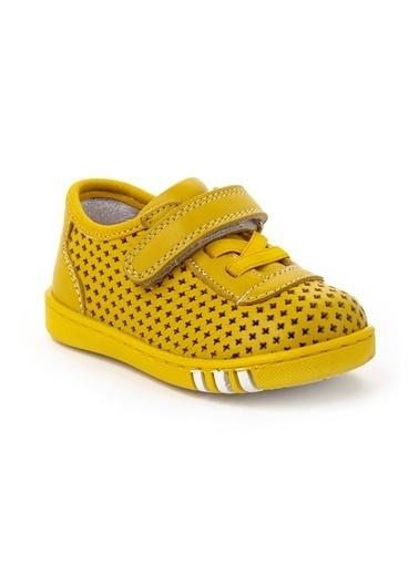 minipicco Minipicco Unısex Sarı Deri Ortopedik Destekli İlk Adım Ayakkabı Sarı